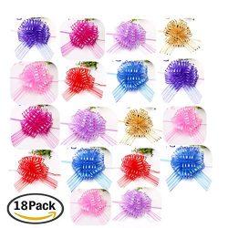 Elegant Gift Pull Bows for Birthdays Easter Christmas, 18 Pack 6″ diameter Organza Yarn Pu ...