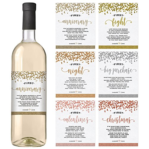8375b1428c3 Wine Bottle Labels for Wedding Gift Set of 6