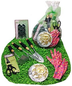 Distinctive Designs Spring Gardening Tools Hanging Gift Basket Set & Hanging Cocoa Lined Pla ...