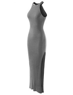 NEARKIN (NKWLD6104) Attractive Woman Halter Sleeveless City Casual Maxi Dress GRAY Medium(Tag si ...