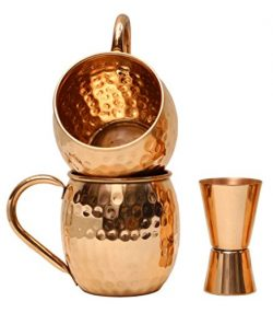 Moscow Mule Copper Mugs | Copper Cups & Mug for Moscow Mules | Hammered Finish | Free Double ...