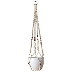 Mkono Macrame Plant Hanger Indoor Outdoor Hanging Planter Basket Cotton Rope With Beads 35 Inch