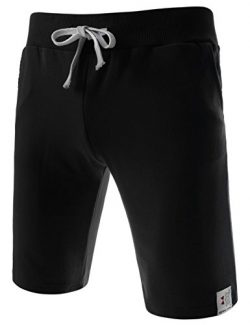 TheLees (TTS01) Unisex Cotton Jersey Waist Elastic Jogger Training Beach Board Shorts Black X-La ...