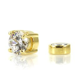 Gold Round Cut Clear Crystal Magnetic Cz Non Pierce Earrings No Holes In All Sizes 4-9mm (5MM)