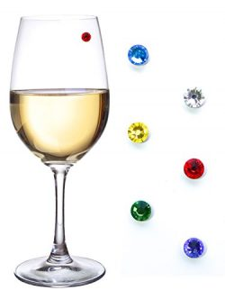 Swarovski Crystal Magnetic Drink Markers & Wine Charm Tags for Stemless Glasses, Beer Mugs,  ...