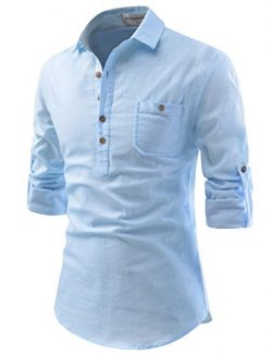 NEARKIN (NKNKN450) Adorable Mens Roll-Up Sleeve Design Urbane Casual Cotton Shirts SKY US XL(Tag ...