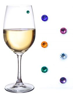 Swarovski Crystal Magnetic Wine Glass Charms for Stemless Glasses, Champagne Flutes & More – ...