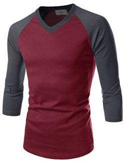 NEARKIN (NKNKR7T621) Unisex 3/4 Sleeve Raglan Design V-Neck Fitted T-shirts REDCHARCOAL US S(Tag ...