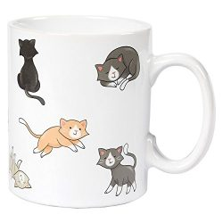 Ceramic Coffee Mug with Handle – Smiley Cats Design, Large Stoneware Tea Cup for Cat Lover ...