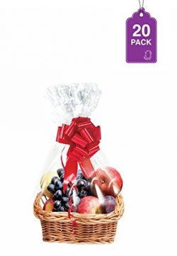 Clear Basket Bags 20 Pack, Cellophane Wrap for Baskets and Gifts 18″x 30″