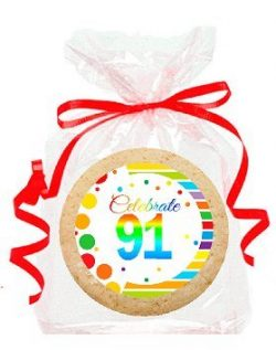 91st Birthday / Anniversary Rainbow Image Freshly Baked Party Favor / Gift Decorated Sugar Cooki ...