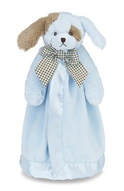 Bearington Baby Waggles Snuggler, Plush Puppy Dog Security Blanket, Lovey (Blue) 15″