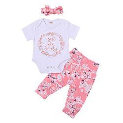 Woaills Hot Sale!0-24 Monthes Baby Girl Clothes, Letter Print Romper Jumpsuit Pants Headbands Ou ...
