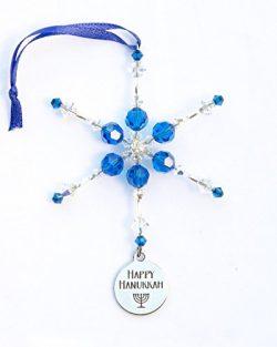 Happy Hanukkah Snowflake Ornament with Swarovski Crystals in Gift Box