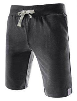 (TTS01) Unisex Cotton Jersey Waist Elastic Jogger Training Beach Board Shorts CHARCOAL X-Large(U ...