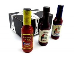 Amazon Pepper Sauces 3-Flavor Variety: One 5.2 oz Bottle Each of Habanero, Chipotle, and Sweet C ...