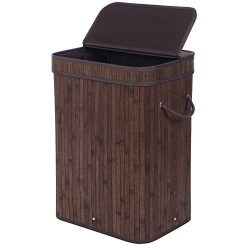BEWISHOME Bamboo Laundry Basket,laundry hampers with lids, Foldable Dirty Clothes Storage Bin wi ...