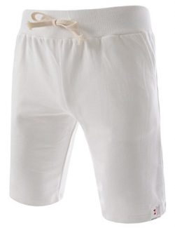 (TTS01) Unisex Cotton Jersey Waist Elastic Jogger Training Beach Board Shorts WHITE Small(US 25~27)