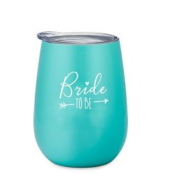 Bride To Be – 10 oz Stainless Steel Wine Tumbler with Lid (Mint and White)