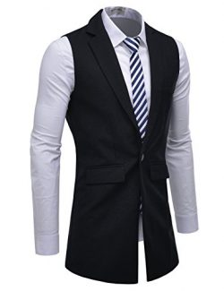 NEARKIN (NKNKLV600) Mens Notched Lapel One Button Slim Fit Long Waistcoat BLACK US S(Tag size S)