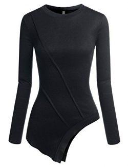 NEARKIN (NKNKWUT631) Beloved Womens Characteristic Hem Design Long Sleeve Tshirt BLACK US XS(Tag ...
