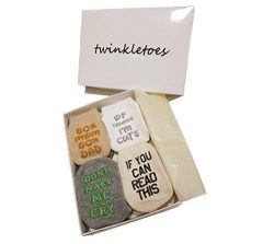 Baby Socks Unique Gift Set – Baby Shower or Newborn Present | Cute Quotes 4 Pair 0-12 mnths