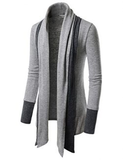 TheLees (NKCD94) Open Front Double Shawl Collar Cardigan Sweaters GRAY US L(Tag size L)