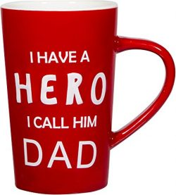 "Gift Boutique 18 oz Father's Day Ceramic Coffee Mug ""I Have a HERO I Call Him DAD"" P ..."