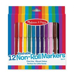 Melissa & Doug Art Essentials Marker Set – 12 Non-Roll Washable Markers