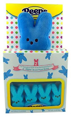 Peeps Blue Plush Bunny with Peeps Marshmallow Candy Bunnies Gift Set