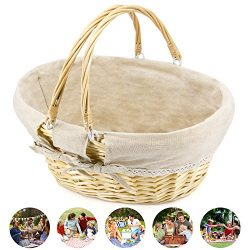 Durior Wicker Basket Woven Picnic Basket Food And Fruit Serving Baskets Oval Round Handwoven Wil ...