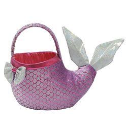 Easter Mermaid Tail Basket 6 Inch Plush Purple
