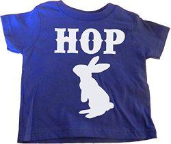 "Custom Kingdom Little Boys ""Hop"" Easter Egg and Bunny T-shirt Blue (6 Months)"
