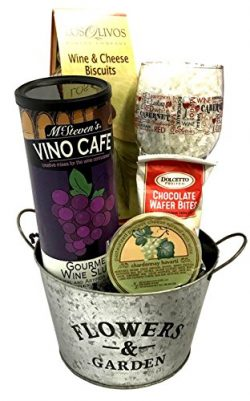 Wine and Cocktail Mix Gift Set with Ice Bucket, Glass, Cheese, Crackers +More – Just Add A ...