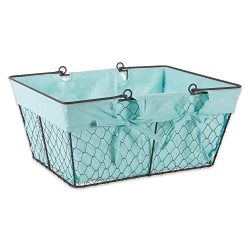 Home Traditions Z02000 Farmhouse Vintage Metal Chicken Wire Storage with Handles and Removable F ...