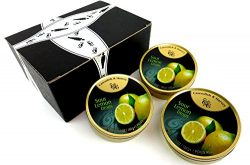 Cavendish & Harvey Sour Lemon Drops, 5.3 oz Tins in a BlackTie Box (Pack of 3)