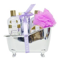 Spa Luxetique Lavender Bath Gift Set in Silver Bath Tub, Deluxe 8 pc Bath and Body Spa Treatment ...