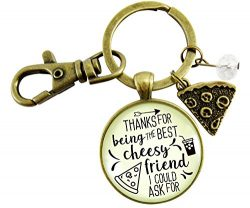Pizza BFF Keychain Thanks For Being Best Cheesy Friend Pizza Themed Women's Friendship Jew ...