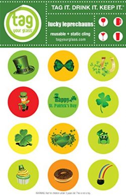 St. Patrick Leprechaun-Champagne, Beer & Wine Glass Charms that use static cling. Unique, re ...