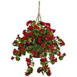 Nearly Natural 6857-RD Geranium Hanging Basket UV Resistant, Red