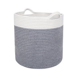 "Large 17"" x 15"" Cotton Storage Basket for Men, Women, Kids & Baby 
