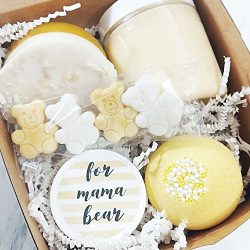 Mama Bear Spa Gift Set. Baby Shower Gifts for New Moms. Pampering Boxed Set for Mothers to Be