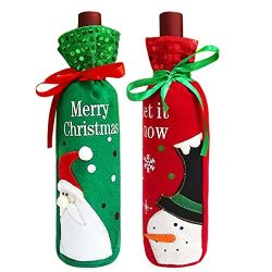 Pack of 2 Christmas Santa Claus and Snowman Wine Bottle Covers Bags Present Candy Bags for Xmas  ...