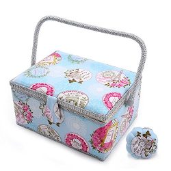 SAXTX Large Sewing Basket with 100Pcs Sewing Kit Accessories| Romantic Wooden Sewing Box Organiz ...