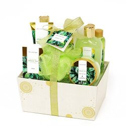 Spa Luxetique Green Tea Bath Gift Set for Her 8pc Premium Spa Gift Set for Women, Decorative Box ...