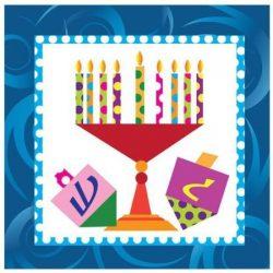 Chanukah Beverage Paper Napkins , Disposable Napkins , Decorated with Hanukkah Menorah and Dreid ...