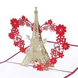 Eiffel Tower Pop Up 3D Card, Bondpaw Handmade Greeting Gift Cards with Envelope for Wedding, Ann ...