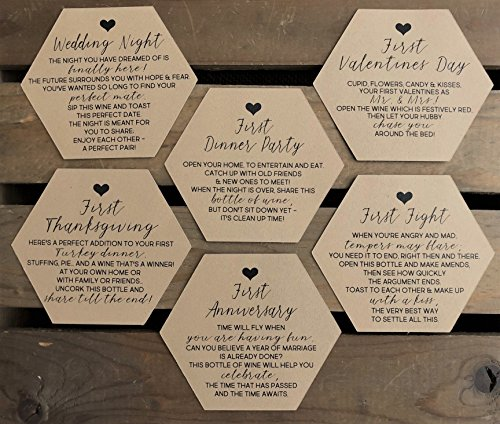 3495f9f92b7 Bridal Shower Wine Labels - Modern 3 inch Hexagon - Basket of Firsts ...