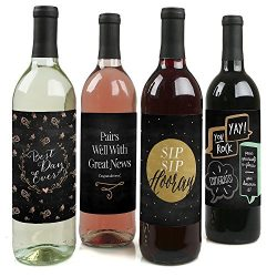 Best Day Ever – Congratulations Wine Bottle Labels – Set of 4