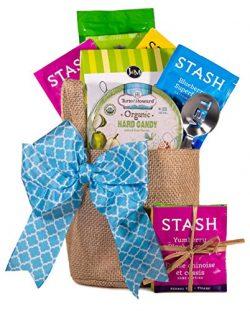 Joyful Hearts Tea Gift Basket for Women | Includes a Reusable Burlap Pot Cover, Tea, Gourmet Tre ...